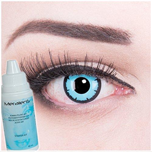 Kostüm Fasching Farbige blaue Crazy Fun Kontaktlinsen crazy contact lenses Sky Demon perfekt zu Fasching, Karneval und Halloween 1 Paar. Mit gratis Linsenbehälter + 60ml Pflegemittel