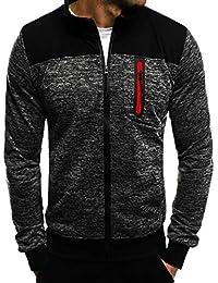 Longra Sportmode Herren Jacke Sweatjacke Ohne Kapuze Klassisch Zip-Jacke  Sweatshirt Jacke Sportjacke Outdoorjacke mit d34b993978