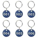 Aspire, set di targhette per chiavi da 30mm, circolare, in metallo, portachiavi con targhette numerate, 50 pezzi 51 to 100 Blue