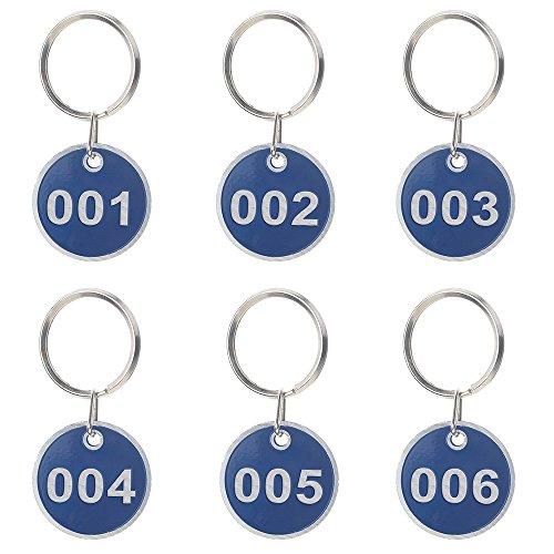 Preisvergleich Produktbild Aspire nummerierte Schlüsselanhänger aus Metall, 30mm, 50Stück 1 to 50 blau