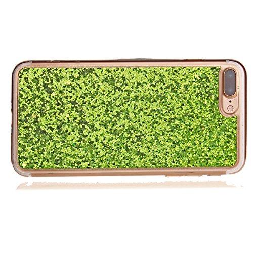 JAWSEU iPhone 7 Plus Coque Transparent Glitter,iPhone 7 Plus Plus Etui en Silicone Clair avec Pailletee,Brilliante Bling ¨¦toile Soft Tpu Case Cover,Ultra Slim Sparkle Scintillant Flexible Souple Gel  green#