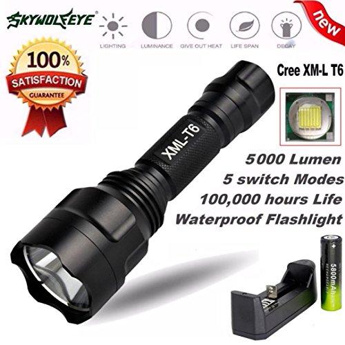 Preisvergleich Produktbild cebbay C8CREE XM-L T6LED Taktische Taschenlampe 5Modus Zoom 5000Lumen Taschenlampe + 1PCS 18650Akku + Single Slot Akku Ladegerät