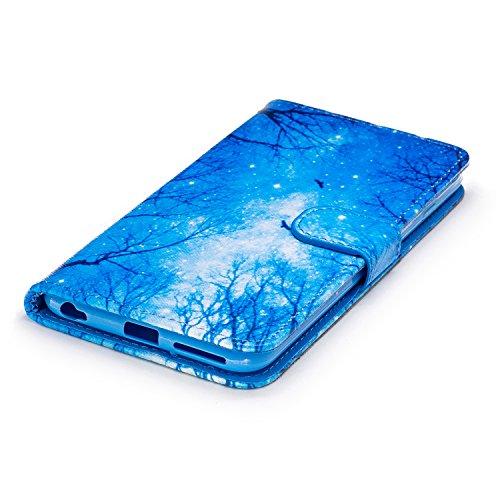 iPhone 6 Plus Hülle, iPhone 6S Plus Hülle, iPhone 6 Plus/ 6S Plus Lederhülle, iPhone 6 Plus / iPhone 6S Plus Brieftasche, BONROY Tier Muster Niedlich Komisch Ledertasche Handyhülle Kunstleder Tasche W Blauer Himmel