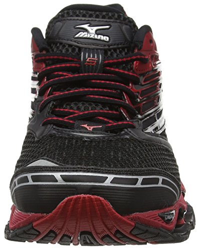 Mizuno Wave Prophecy 5, Chaussures de Running Compétition Homme Noir - Black (Black/Silver/Chinese Red)