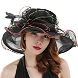 Saferin Women Oganza Summer Sun Hat Beach Church Hat Ascot Race Derby Hat Cocktail Wedding