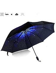 CAMTOA Regenschirm Sky Stern Schirm Taschenschirm,Automatik faltbar kompakt Vinyl Sonnenschirm UV-Schutz winddicht Regenschirm,Stern