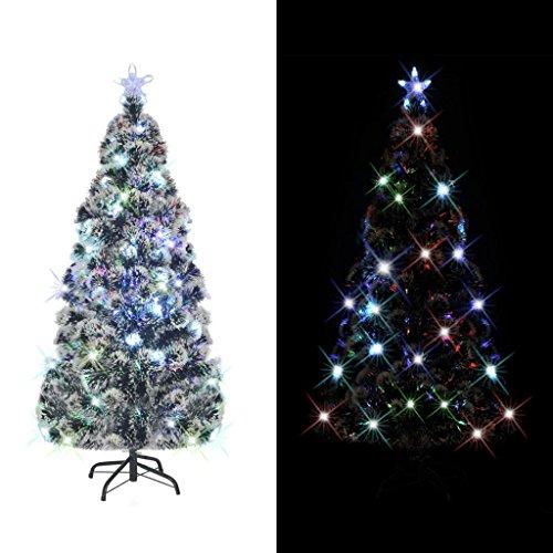 Festnight Künstlicher Weihnachtsbaum Tannenbaum Christbaum inkl. Stahl-Ständer + LED-Licht Dekorationsbaum Höhe 210cm mit 280 Zweige Grün