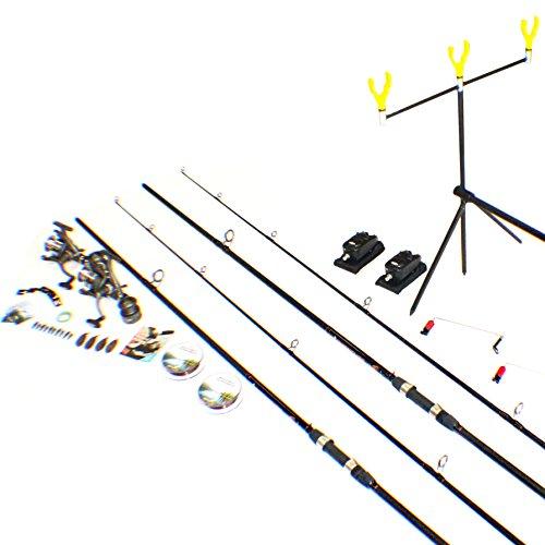 Fladen–especial de Navidad–2x 12ft (2piezas) caña y carrete Set completo de doble de pesca de carpa UPS–con Rod Pod/picada/línea/fin de la frente y práctica guía libro–ideal para principiantes/Kit de introducción [40-amz006]