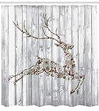 Abakuhaus Hirsch Duschvorhang, Artful Weihnachten Tier Rustic, Wasser Blickdicht inkl.12 Ringe Langhaltig Bakterie und Schimmel Resistent, 175 x 200 cm, Grau Multicolor