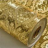 Papier peint Halloween vinyle Papier peint doré classique de luxe Papier peint de chambre à coucher de salon de secours de damassé de papier peint de papier peint de scintillement de feuille d'or