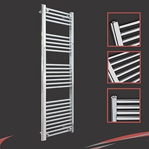 400mm (w) x 1400mm (h) - Radiateur sèche-serviettes plat chromé Barre Horizontale Diamètre: 22mm, Bar Modèle: 4 + 5 + 7 + 10