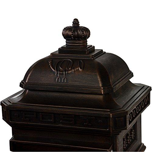Antiker englischer Standbriefkasten aus rostfreiem Aluminium, Höhe: 102,5 cm, Farbe: Bronze - 5