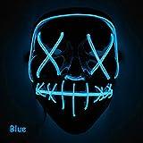 Romison Máscara de Halloween, Moda, Creativa, con luz LED, para Disfraz de Halloween, Azul Marino, 20.5 * 17cm