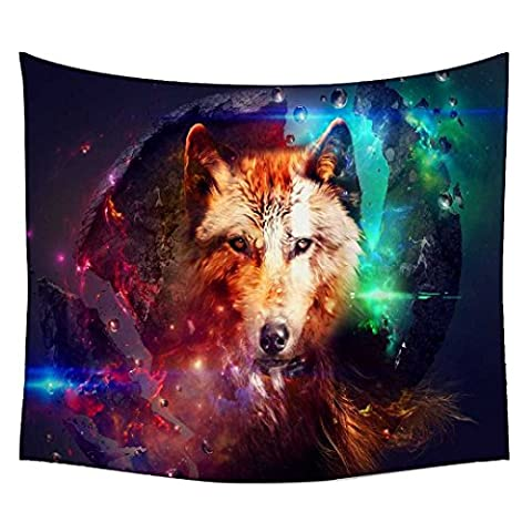 Snoogg Wolf Of Hearts Wall Hanging Indian Mandala Tapestry Decorative Dorm Tapestry Wall Hanging Beach Picnic Sheet Hippie Tapestry Wall Tapestries , Bohemian