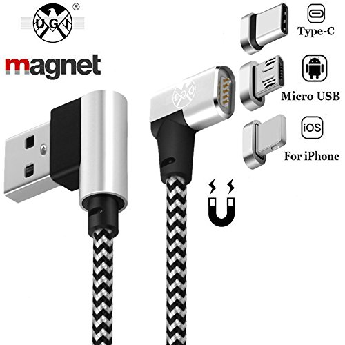 Typ C Micro USB C Magnetkabel Iphone Ladung Double 90 ° rechten Winkel 3ft / 6.6ft 3 in 1 High Speed Data Sync Nylon geflochten Kabel Datentransfer für Android Apple Samsung HUAWEI Iphone X 7 8 Plus
