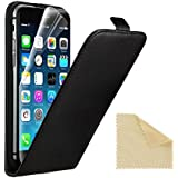 EasyAcc iPhone 6 ECHT LEDER Hülle Lederhülle Handyhülle Flip Case für iPhone 6 4.7 Zoll + Schutzfolie und Reinigungstuch ECHT Leder Schwarz