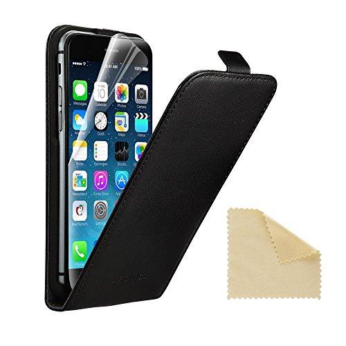EasyAcc iPhone 6 6S ECHT LEDER Hülle Lederhülle Handyhülle Flip Case für iPhone 6 6S 4.7 Zoll + Schutzfolie und Reinigungstuch ECHT Leder Schwarz (Reinigungstuch Für Iphone)