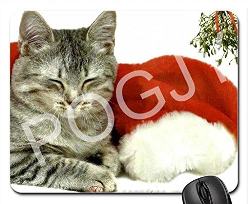 POGJY Alfombrilla de ratón de juego 7 x 8 Inches, tela, base de caucho, compatible con ratón láser y óptico, negro - Navidad Kitty Cat image 285