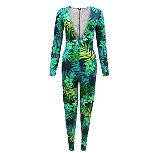 Fast Fashion Overall Frauen Prominenten Inspiriert Tropischen Drucken Tiefen V-Ausschnitt Plunge
