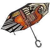 Little Yi Guitare Jazz Musicautomatique Parapluie Ouvert Parapluie Pliant inversé Voiture extérieure étanche à la Pluie
