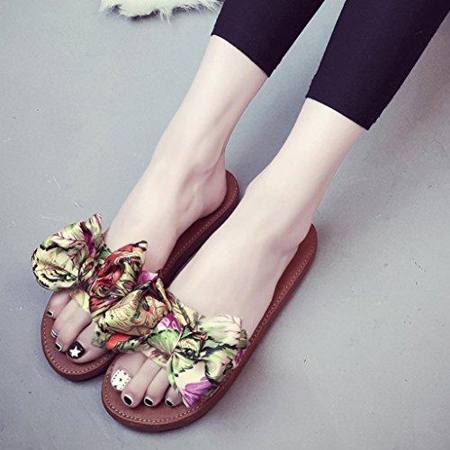 Women's Lässige Schuhe, Kaiki Frauen Sommer Strand Schuhe Hausschuhe Flat Heels Flip Flops Bohemia Sandalen Yellow