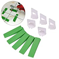 "Hotgod Tile Leveling System Clips -100 Pcs Clips + 100 Green Wedges(1/16"" ,2mm)"