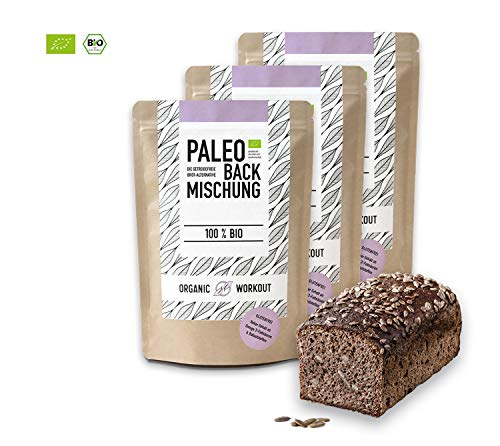 Organic Workout PALEO-BROT-BACKMISCHUNG 3er Pack | 100% Bio | gluten-frei | lower-carb | Eiweiss-Brot | clean-eating | Fitness-Brot | hefefrei | ohne Getreide | hergestellt in Deutschland