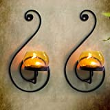 TiedRibbons T-light holder /wall Sconce holder Pack of 2(Black, Metal) | wall sconces with tealight | gift for house warming function | home decor accessories