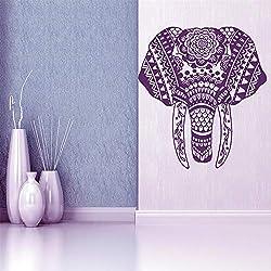 Ajcwhml Etiqueta de la Pared Elefante Mandala meditación Buda Etiqueta de la Pared Dormitorio Sala de Estar Yoga decoración del hogar Etiqueta de Vinilo 55X60 CM