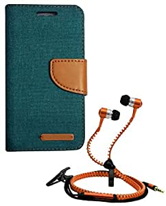 Aart Fancy Wallet Dairy Jeans Flip Case Cover for Redmi2S (Green) + Zipper Earphones/Hands free With Mic *Stylish Design* for all Mobiles- computers & laptops By Aart Store.