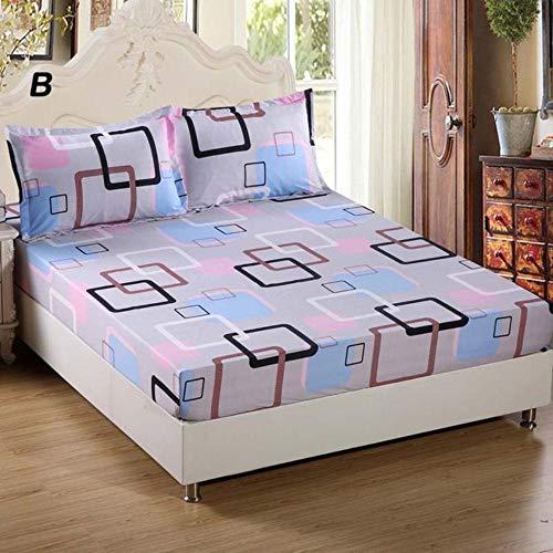 PENVEAT Bettlaken mit Kissenbezug Geometrisch bedrucktes Spannbetttuch mit elastischen Matratzenbezügen aus Bettwäsche aus Polyester Queen Size, Typ 5.100 x 200 cm x 25 cm