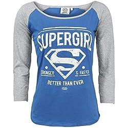 Supergirl Stronger & Faster Manga Larga Mujer Azul/Gris