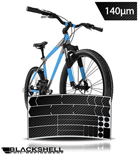 Blackshell Fahrrad Schutzfolie Aufkleber Rahmenschutz für z.B. BMX, MTB, Rennrad oder E-Bike - 24-teilig in Carbon Schwarz - Steinschlagschutz-Set
