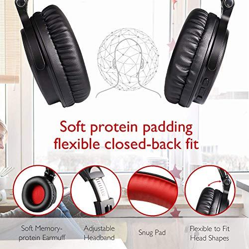 OneOdio Bluetooth Kopfhörer, Kabellos Over Ear Headset mit abnehmbare Mikrofon & Dual 50mm Treiber, 30 Stunden Spielzeit, DJ Kopfhörer (mit abnehmbare Mikrofon, Schwarz Rot) - 11