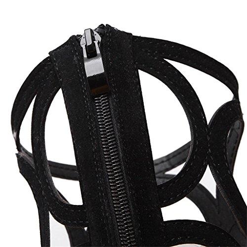 ALUK- L'Europe et les États-Unis - Sexy Fashion Hollow Chaussures à talons hauts à talons hauts ( Couleur : Noir , taille : 40 ) Noir
