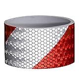 Vococal 118,11 x 1,97 inches Selbstklebend Auto Twill Reflektoren Aufkleber Schutzleisten/Nacht Reflektierende Warnung Band, Weiß + Rot