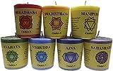 Trimontium 12570640-1 Geschenkset, Chakra-Votivkerzen mit Duft in Transparenter Box mit Chakren-Beschreibung, 7-farbig, 100% Palmöl