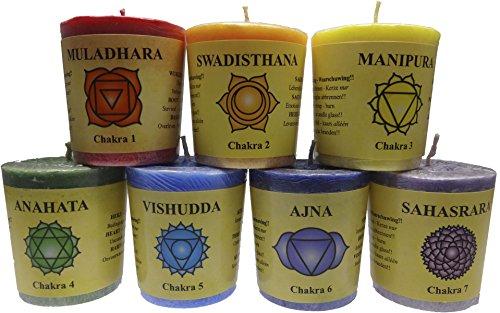 TRIMONTIUM 12570640-1 Geschenkset, Chakra-Votivkerzen mit Duft in transparenter Box mit Chakren-Beschreibung, 7-farbig, 100 % Palmöl
