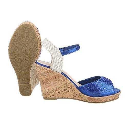 Keilsandaletten Damen Schuhe Plateau Keilabsatz/ Wedge Keilabsatz Schnalle Ital-Design Sandalen / Sandaletten Blau