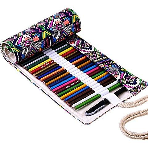 Tela, Pencil Wrap jltph matite roll custodia case mantengono per 48matite colorate (matite non sono inclusi nel prezzo) marrone