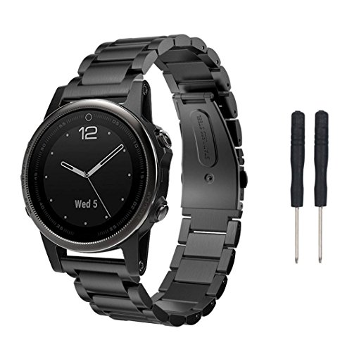 Correa de reloj OverDose correa de pulsera de reloj de acero inoxidable genuino para Garmin Fenix 5S GPS Watch