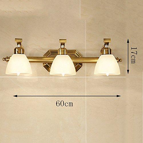 Modern / Zeitgenössische LED Wandleuchte 1 Kopf / 2 Kopf / 3 Kopf / 4 Kopf Europäische Spiegel-Scheinwerfer Badezimmer-Spiegel Wasserdichte Scheinwerfer Einfache Wand-Lampe Amerikanische All-Kupfer Spiegel-Scheinwerfer Birne eingeschlossen ( größe : 3 )
