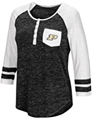 "Purdue Boilermakers NCAA Women's ""Inconceivable"" 3/4 Sleeve Henley Shirt Chemise"