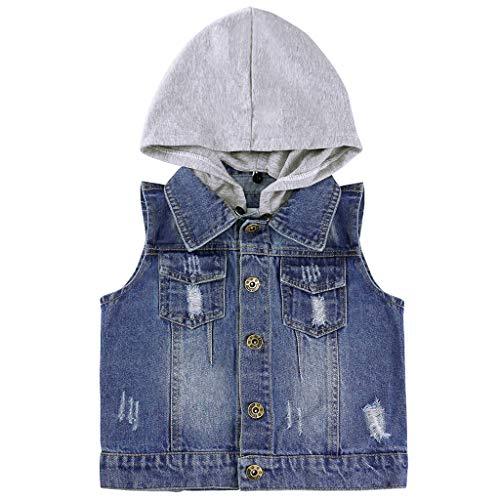 Baby Jungen Jeansjacke Weste Kinder Jeansweste Kapuze ärmellose Weste Mantel Mädchen Blue Jeans Kleidung Frühling Herbst Vest 95 cm