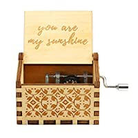 Prosperveil Wooden Music Box Hand Crank Musical Box You Are My Sunshine Mechanism Engraved Wooden Music Box Gift for Adult Kids Home Decoration Craft