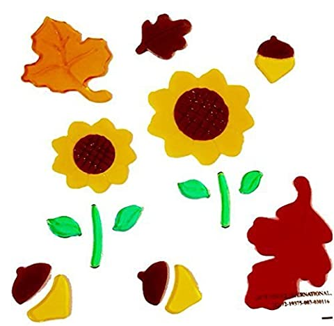 Autumn 19 Count Gel Window Cling Decorations Sunflowers Acorns Leaves Fall Thanksgiving Harvest Theme ~ Very Cute Sunflower by Fall