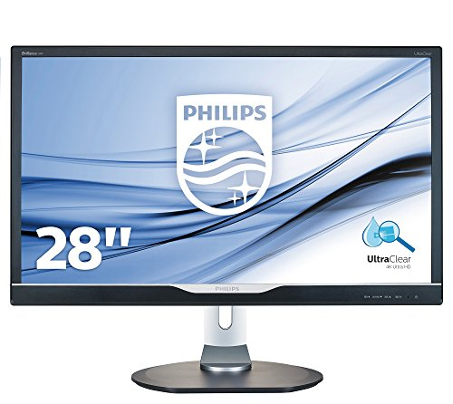 "Philips 288P6LJEB Gaming Monitor da 28"", 4K UHD 3840 x 2160, LED TN, Tempo di Risposta 1 ms, Regolabile in Altezza, Girevole, Pivot, Audio Integrato, HDMI, Display Port, DVI, VGA, USB, Vesa, Nero"