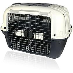 DI ZE LIN PET HOME S.L DZL Transportín para Llevar Dos Perros Pequeños con Separador, Ruedas, comederos 88 * 56 * 65cm Caja de Aviones Perros