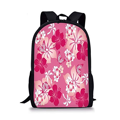 School Bags Luau,Abstract Hibiscus Pattern Dreamlike Fantasy Composition with Butterflies Decorative,Pale Pink Magenta White for Boys&Girls Mens Sport Daypack -