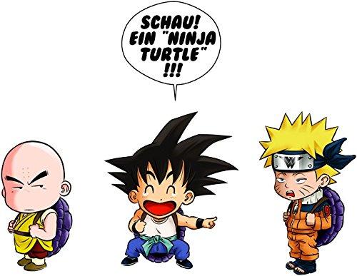 Parodie auf Son-Goku von Dragon Ball Z und Naruto - Manga Langarm T-shirt (699) Schwarz